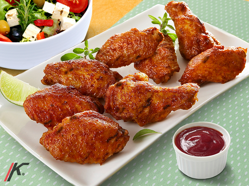 Barbeque Chicken wings, salad, sauce