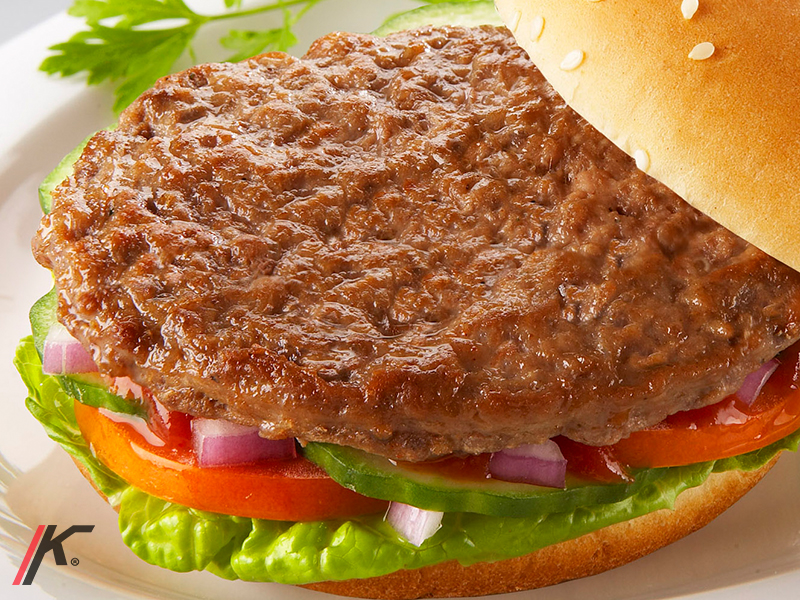 Pre- cooked pork burger